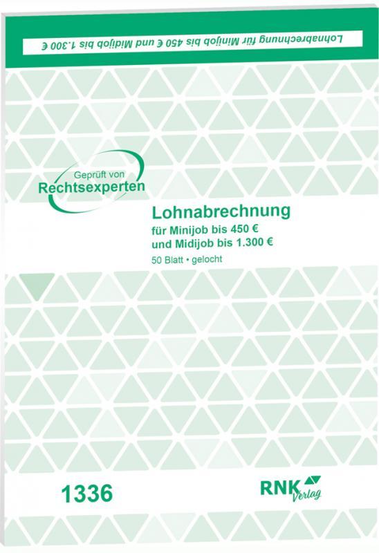 """RNK Verlag Vordruck /""""Lohnabrechnung Teilzeit Beschäftigte/"""" DIN A5 50 Blatt"""